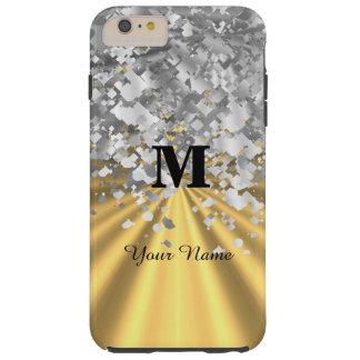 Brillo del oro y de la plata con monograma funda resistente iPhone 6 plus