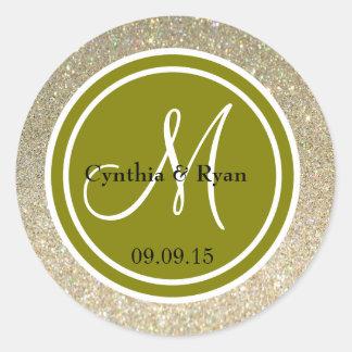 Brillo del oro y monograma del boda del verde etiqueta