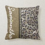 Brillo del oro y monograma del leopardo cojines