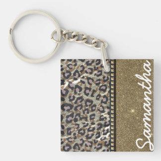 Brillo del oro y monograma del leopardo llavero cuadrado acrílico a una cara