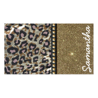 Brillo del oro y monograma del leopardo tarjetas de visita