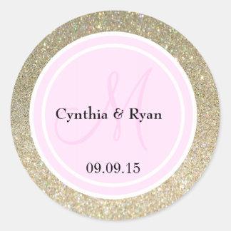 Brillo del oro y monograma rosa claro del boda pegatina redonda