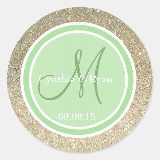 Brillo del oro y monograma verde del boda de la etiqueta redonda