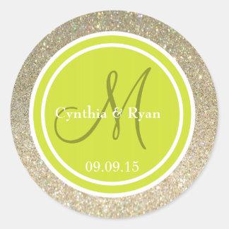 Brillo del oro y monograma verde del boda de la etiqueta