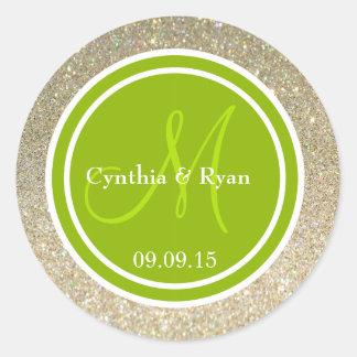 Brillo del oro y monograma verde del boda pegatina redonda
