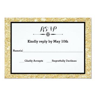 """Brillo del oro y tarjeta negra de la respuesta de invitación 3.5"""" x 5"""""""