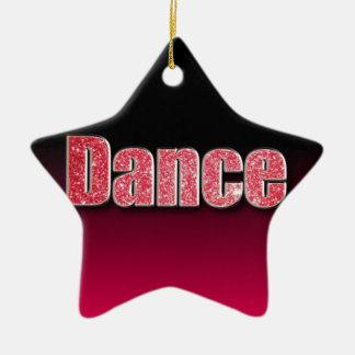 Brillo del rosa de la danza adorno navideño de cerámica en forma de estrella