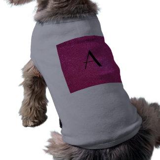 Brillo del rosa del monograma camisetas de perro