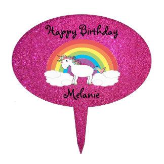 Brillo del rosa del primero de la torta del unicor decoraciones para tartas