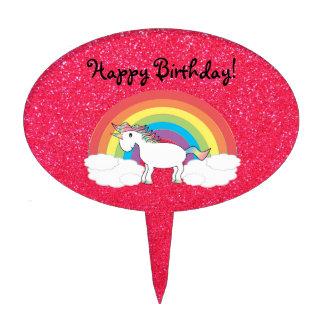 Brillo del rosa del unicornio del arco iris decoración para tarta