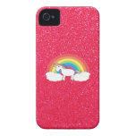 Brillo del rosa del unicornio del arco iris iPhone 4 Case-Mate cárcasa