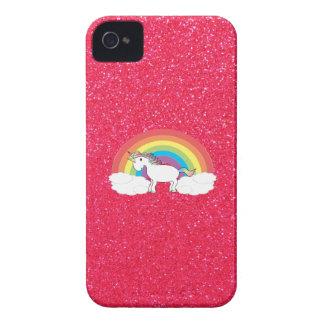 Brillo del rosa del unicornio del arco iris funda para iPhone 4 de Case-Mate