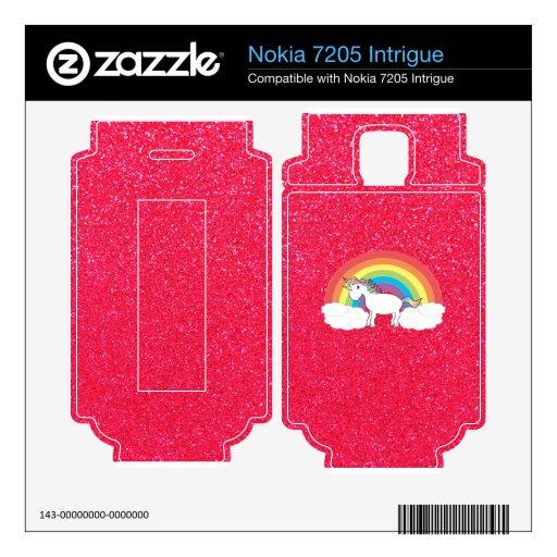 Brillo del rosa del unicornio del arco iris nokia 7205 intrigue skin