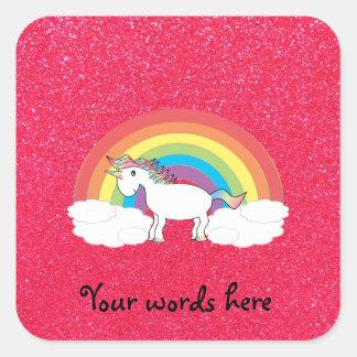 Brillo del rosa del unicornio del arco iris colcomanias cuadradases