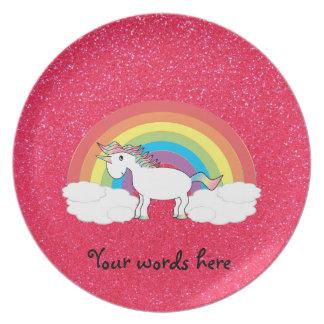Brillo del rosa del unicornio del arco iris platos