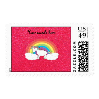 Brillo del rosa del unicornio del arco iris sello