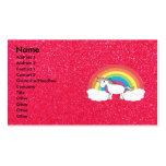 Brillo del rosa del unicornio del arco iris tarjeta de visita