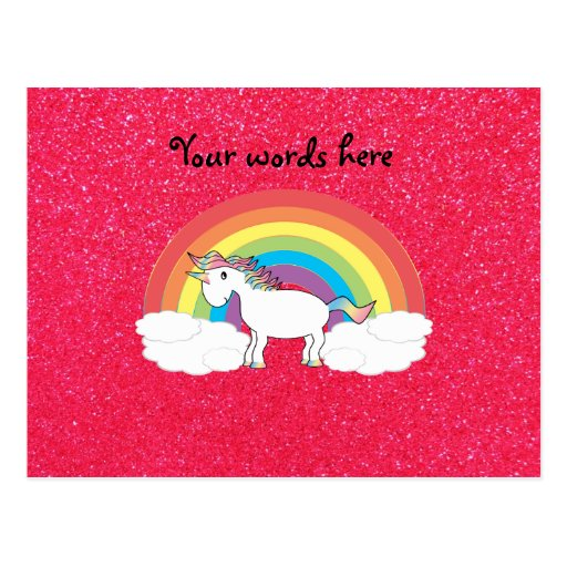 Brillo del rosa del unicornio del arco iris postales