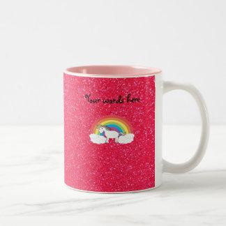 Brillo del rosa del unicornio del arco iris taza dos tonos