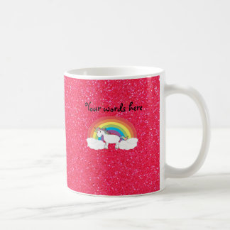 Brillo del rosa del unicornio del arco iris taza básica blanca
