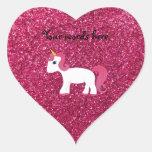 Brillo del rosa del unicornio pegatina en forma de corazón