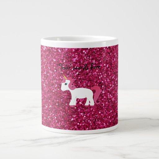 Brillo del rosa del unicornio taza grande