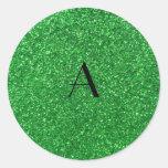brillo del verde del monograma etiquetas redondas
