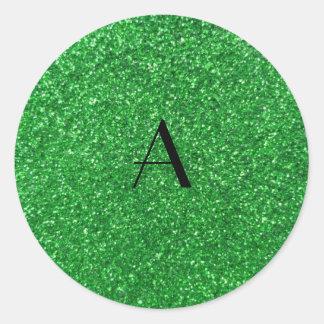 brillo del verde del monograma pegatina redonda
