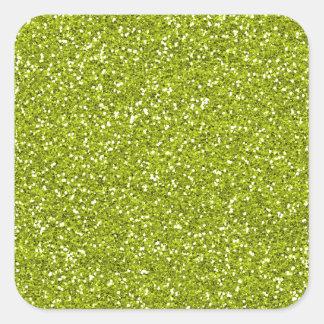 Brillo elegante de la verde lima pegatina cuadrada