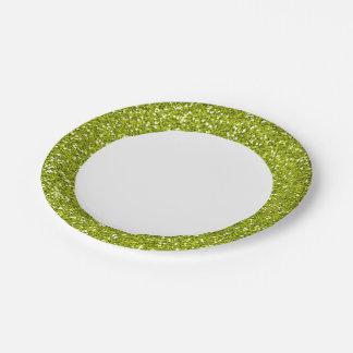Brillo elegante de la verde lima plato de papel de 7 pulgadas