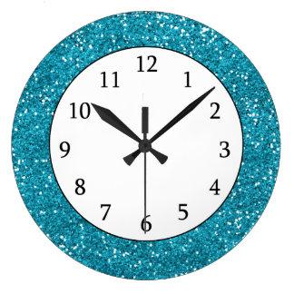 Brillo elegante de las azules turquesas reloj redondo grande