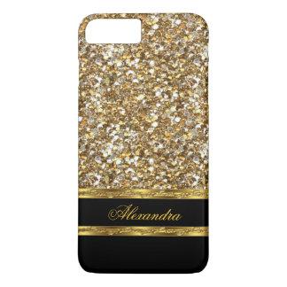 Brillo elegante del negro y del oro funda iPhone 7 plus