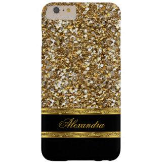 Brillo elegante del negro y del oro funda para iPhone 6 plus barely there
