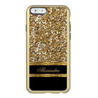 Brillo elegante del negro y del oro funda para iPhone 6 plus incipio feather shine