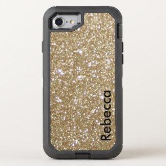 Brillo elegante femenino del oro de las luces de funda OtterBox defender para iPhone 7