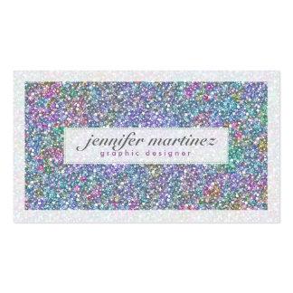 Brillo elegante y chispas púrpuras y coloridos 3 tarjetas de visita