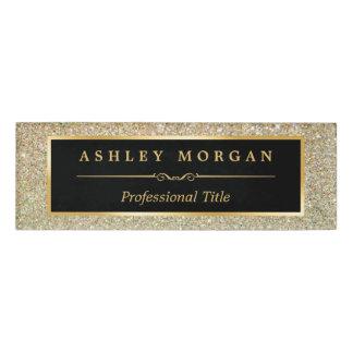 Brillo elegante y de moda moderno del oro de la etiqueta con nombre