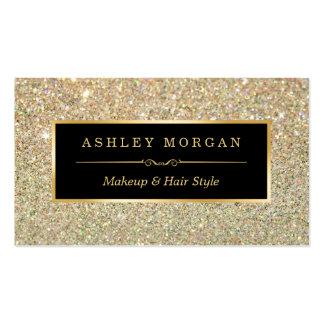Brillo enrrollado del oro del estilista del tarjetas de visita