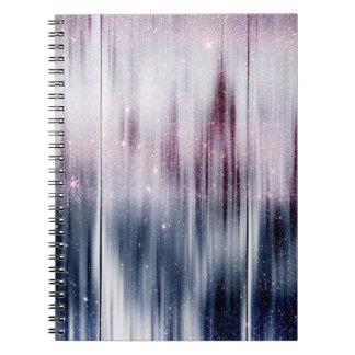 Brillo estrellado de la nebulosa libros de apuntes con espiral