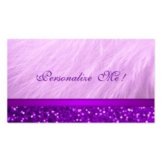 Brillo femenino púrpura rosado tarjetas de visita