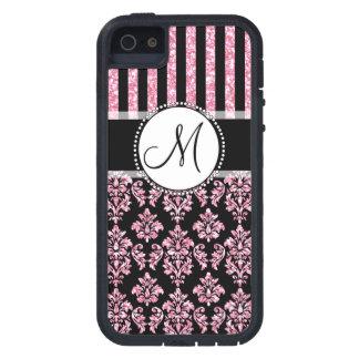 Brillo femenino, rosado, damasco negro su monogram iPhone 5 cobertura