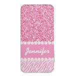 Brillo femenino, rosado, rayas de la cebra, su bolsillo para móvil
