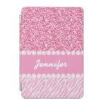Brillo femenino, rosado, rayas de la cebra, su cover de iPad mini