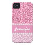 Brillo femenino, rosado, rayas de la cebra, su iPhone 4 Case-Mate fundas