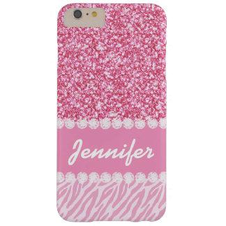Brillo femenino, rosado, rayas de la cebra, su funda de iPhone 6 plus barely there