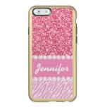 Brillo femenino, rosado, rayas de la cebra, su funda para iPhone 6 plus incipio feather shine