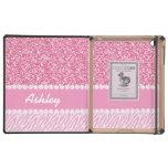Brillo femenino, rosado, rayas de la cebra, su nom iPad cárcasas