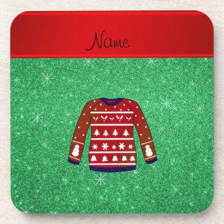 Brillo feo del verde del suéter del navidad del posavaso