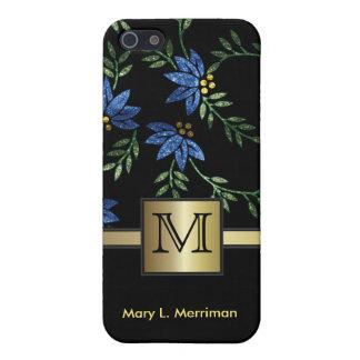 Brillo floral azul elegante iPhone 5 carcasa