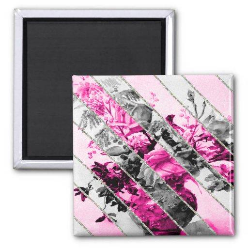 Brillo floral blanco negro rosado de las rayas del imán cuadrado